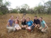 2012-13 Fellows (from left to right) Sarah Richards, Kelly Souls, Meredith Ragno, Sachi Lake, Bjorn Whitmore & Michael Arnst rhino trekking in Uganda.