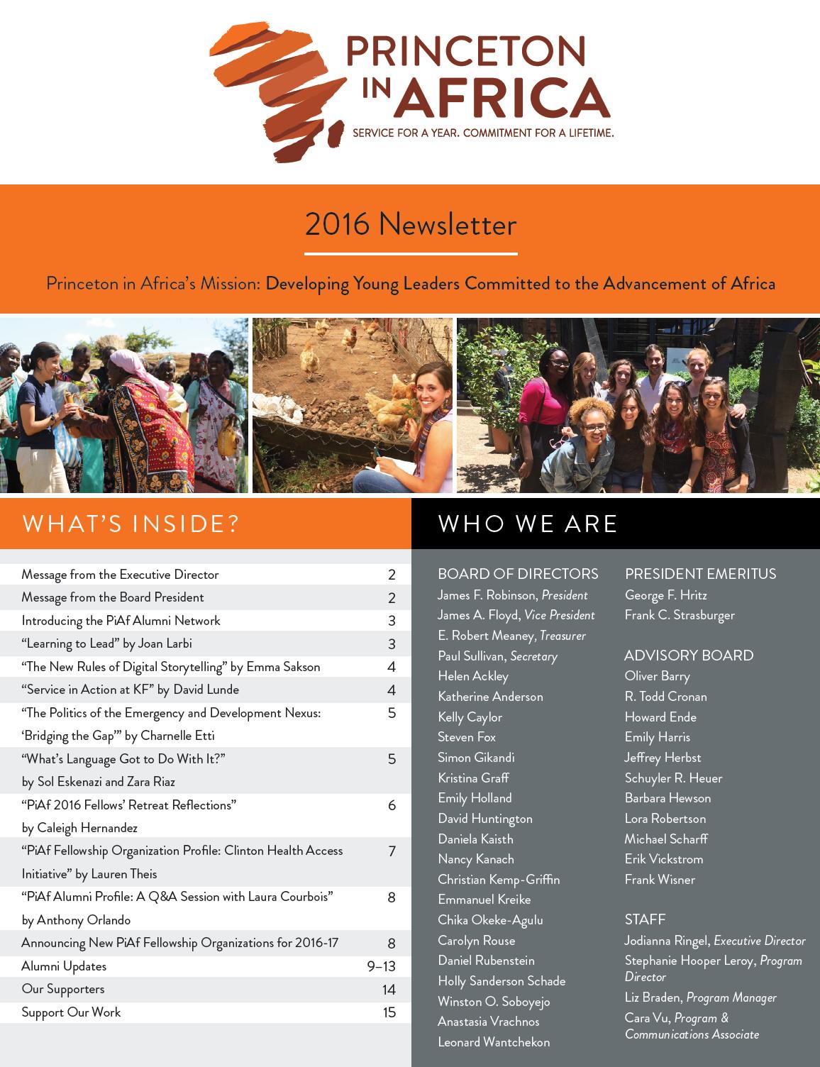 PiAf 2016 Newsletter