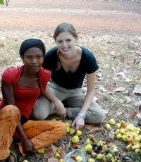 Meredith Ragno with a cashew worker she interviewed.