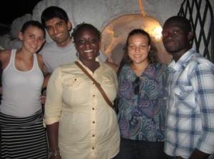 Lisa Hendirckson, Nabil Hashmi, Akornefa Akyea and Shameika on a Francophone excursion with their French instructor.