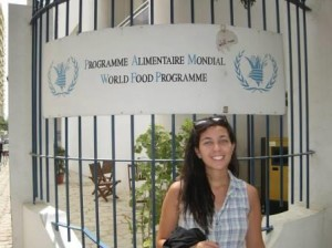 Elizabeth in front of her office at the World Food Programme.