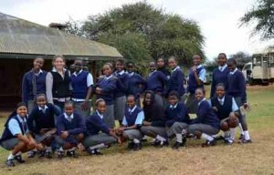 Morgan with students from Daraja Academy who visited Mpala to learn about research.
