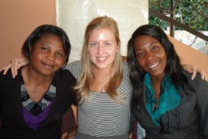 Kate with two co-workers at African Impact.