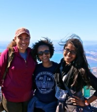 Lavina (right) with fellow 2014-15 MaP Fellows Lauren Richardson (left) and Nada Ali (center) on a trip to South Africa.